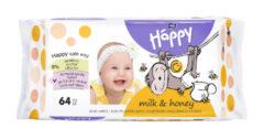 Vlhčené ubrousky Happy Mléko & Med á 64 ks